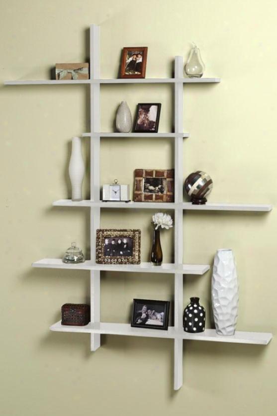 Tall Contemporary Display Shelf - Tall, White