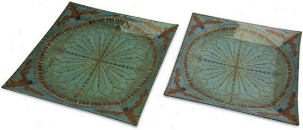 Tate Glass Trays - Set Of 2 - Set Of Two, Blue