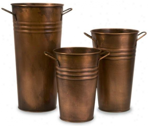 Tauba Copper Vase - Set Of 3 - Set Of Three, Copper