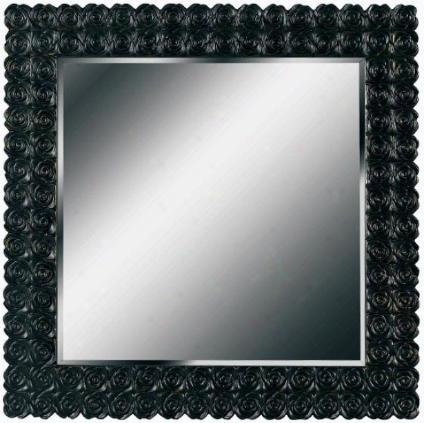 """tavela Wall Mirror - 32"""" Square, Black"""