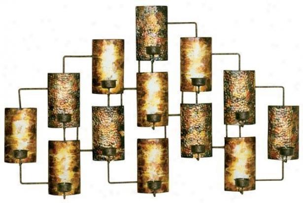 """""""tealight Cabdleholders Wall Art - 21.5""""""""hx34.5""""""""w, Golden"""""""