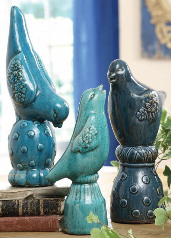 """terra Cotta Bird Finials - Set Of 3 - 15""""hx7""""wx4""""d, Blue"""