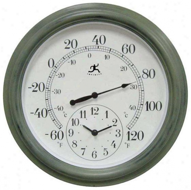 """the Contra Clock/thermometer - 16""""hx16""""w, Verde/green"""