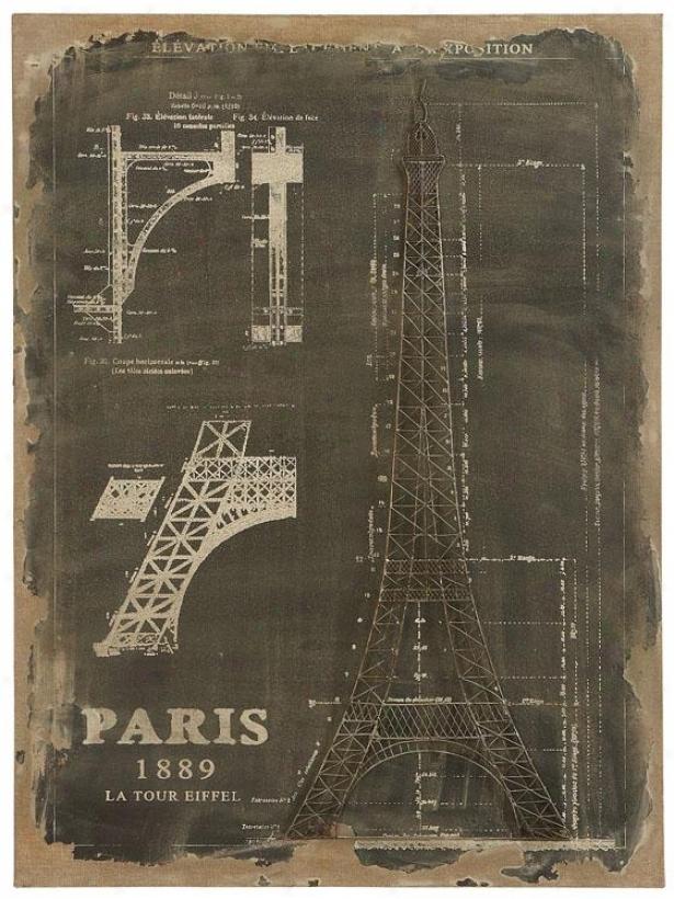 """the Eiffel's Construction Wall Aet - 33h X 24w X 1""""d, Black & White"""