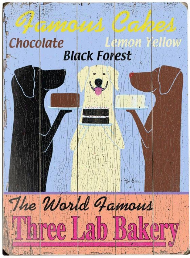 """the World Famouss Three Lab Bakery Wooden Sign - 20""""hx14""""w, Blue"""