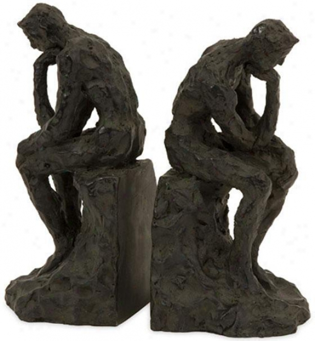 Thinking Man Bookends - St Of 2 - Set Of 2, Bronze