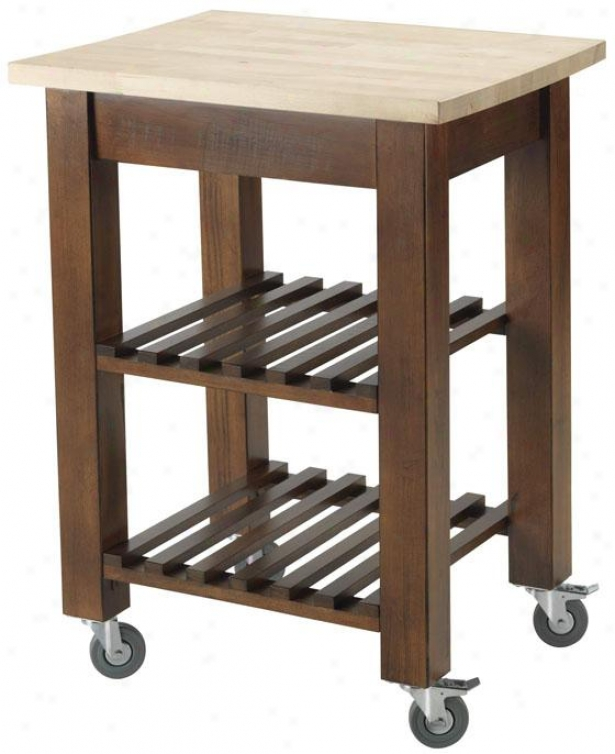 """thomas Kitchen Cart With Shelves - 24""""wx20""""dx34""""h, Brown"""