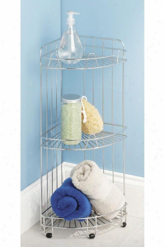 """three-tier Corner Shelf - 24""""hx11.5""""wx9""""d, Silver"""