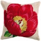 """hooked Flower Pillows - 18""""sq, Red"""