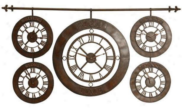 """Period Zones Clock - 63""""x34"""", Brown"""