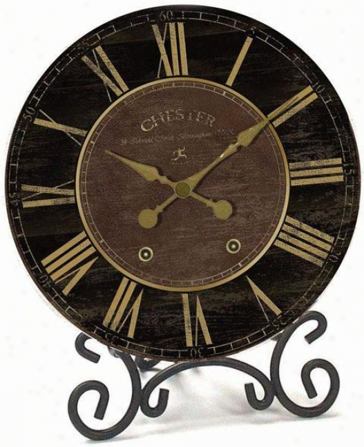 Timepiece - Chester Table Clock With Stand - Table, Black