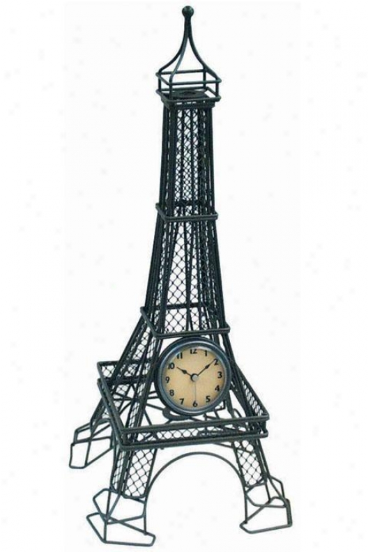 Timepiece - Eiffel Tower Table Clock - Table, Steel Gray