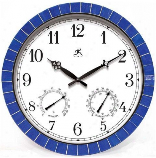 Timepiece - Indoor All-weather Outdoor Patio Tile Clock - Wall, Blue