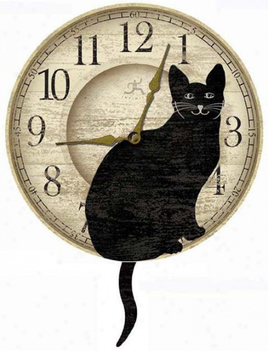 """timepiece - Waggiing Cat Tail Pendulum Clock - 14""""d, Black"""