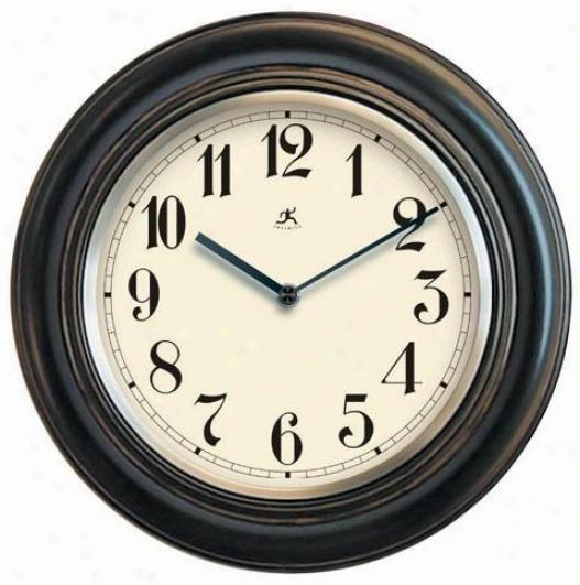 """timepiece - Wood Wall Clock W/metal Bezel - 11.5""""d, Antique Varnish"""