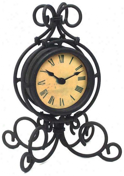 Timepiece - Wrought Iron Tavle Clock - Table, Back