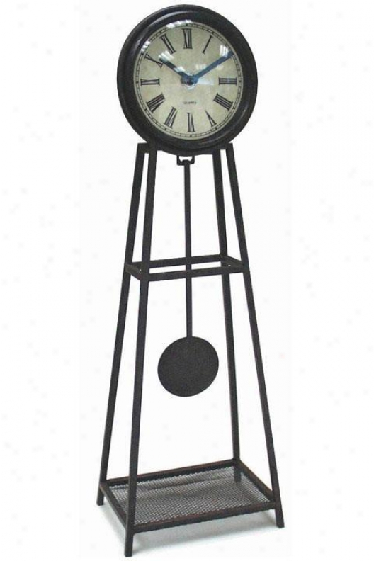 Timepiece - Wrought Iron Table Clock With Pendulum - Table, Black