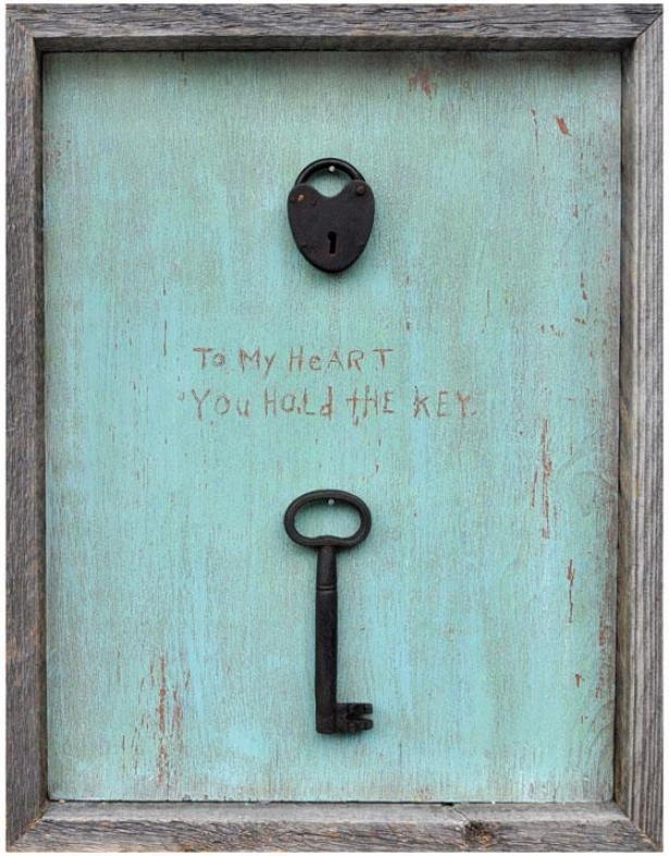"""to My Heart You Hold The Key Wooden Sign - 19 X 15"", Blue"""
