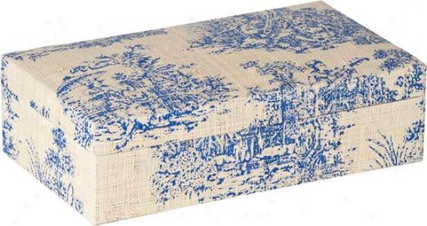 Toile Jewelry Box - 9.25hx5.12w, Blue