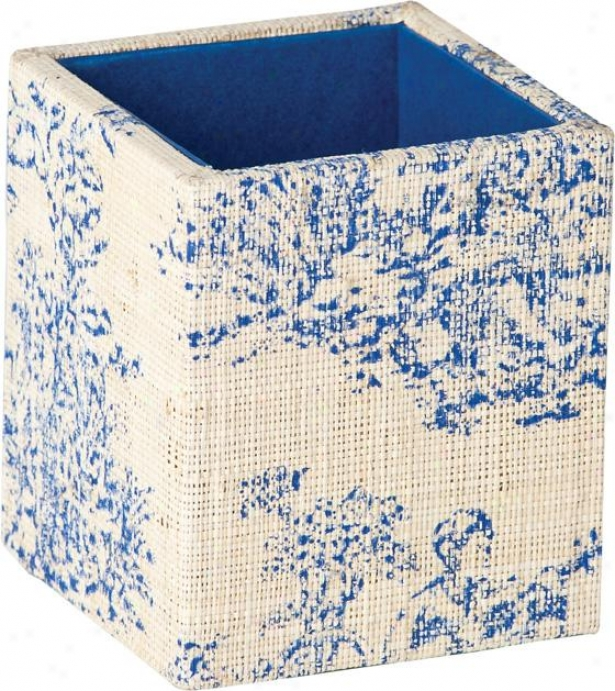 Toile Pen Holder - 3.5hx3.5w, Blue
