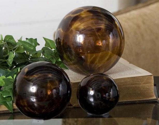 Tortoise Spheres - Set Of 3 - Set Of 3, Brown