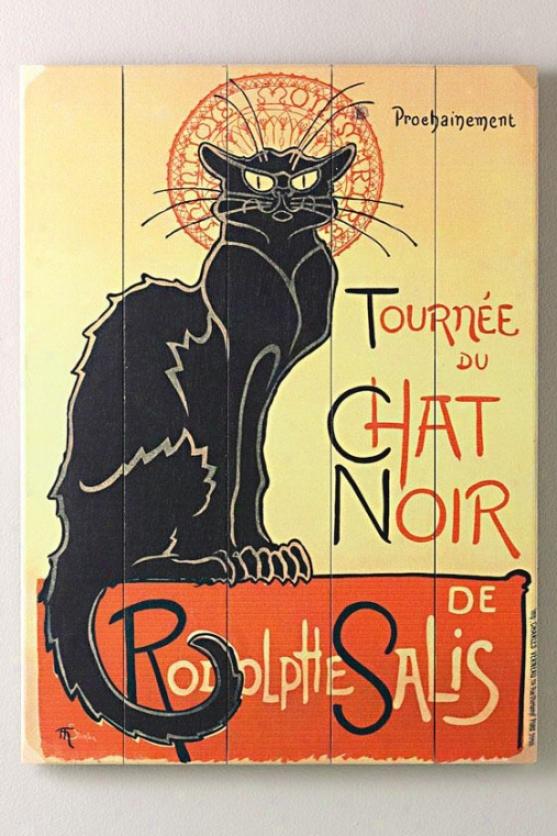 """""""tournee Du Chat Noir Wooden Sign - 20""""""""hx14""""""""w, Black"""""""