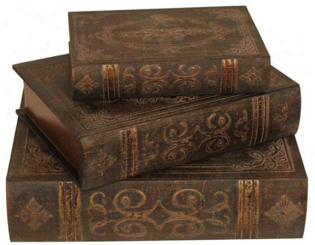 Orally transmitted Book Boxes - Predetermined Of Three, Brown