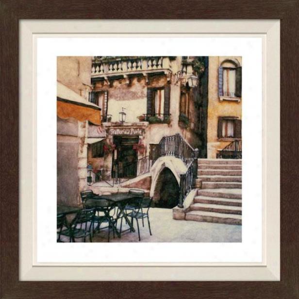 """trattoria Al Ponte Framed Wall Art - 30""""hx30""""w, Fltd Espresso"""
