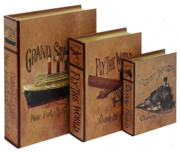 """traveler Book Box - Set Of 3 - Setof3/15"""",12"""", Brown"""