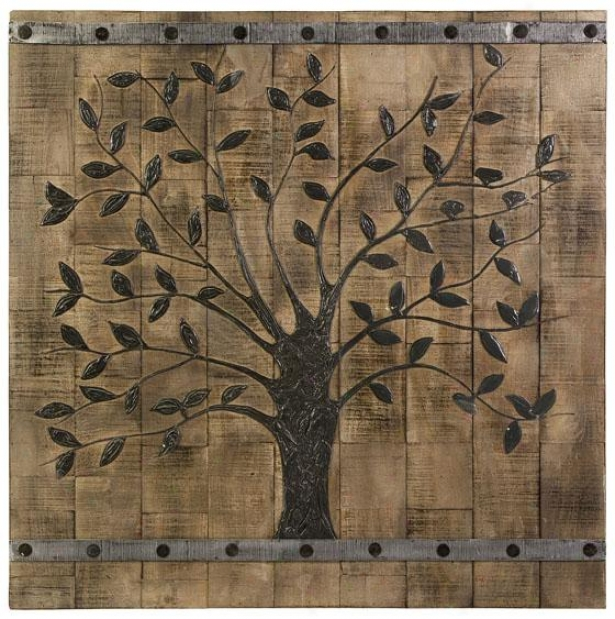 """""""tree Of Life Wood Wall Panel - 36"""""""" Square, Beige"""""""