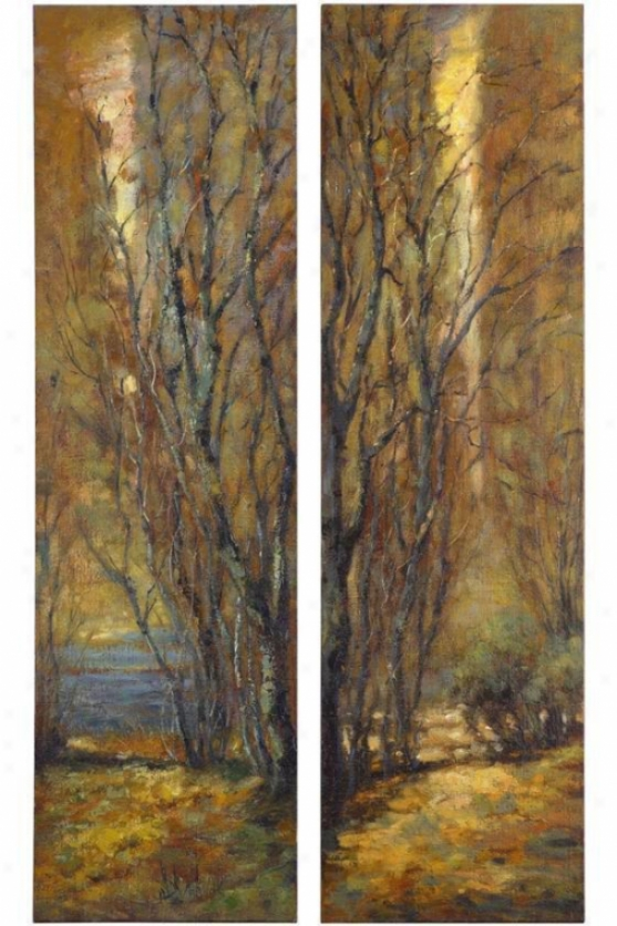 """tree Panels - Set Of 2 - 70""""hx20""""w, Earthtones"""
