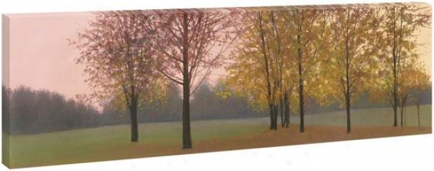 Trees At Dusk Wall Art - 28hx65wx1.5d, Green