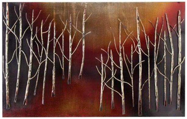 """trees At Night Wall Art - 24h X 38w X 1""""d, Coffee Brown"""