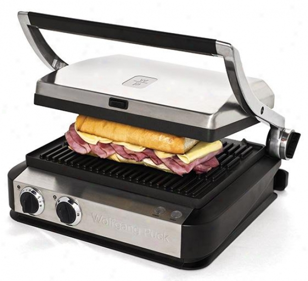Tri-grill With Storage Draawer And Three Plates - 15hx8w, Silver