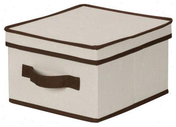 Trimmed Canvas Storage Box With Lid - Medium, Brown