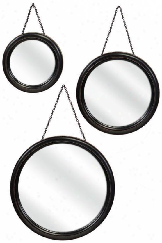 Trio Mirrors - Set Of 3 - Set Of 3, Negro