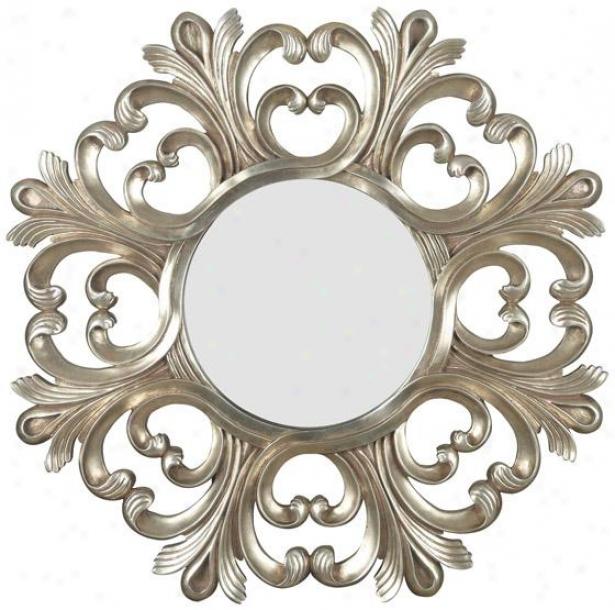 """triomphe Wall Mirror - 36h X 36""""w, Silver"""