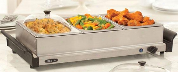 """triple Buffet Server & Warming Tray - 13""""hx65.""""wx24""""d, Silver"""