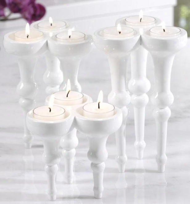 Triple Tealight Holders - Set Of 3 - Set Of 3, White
