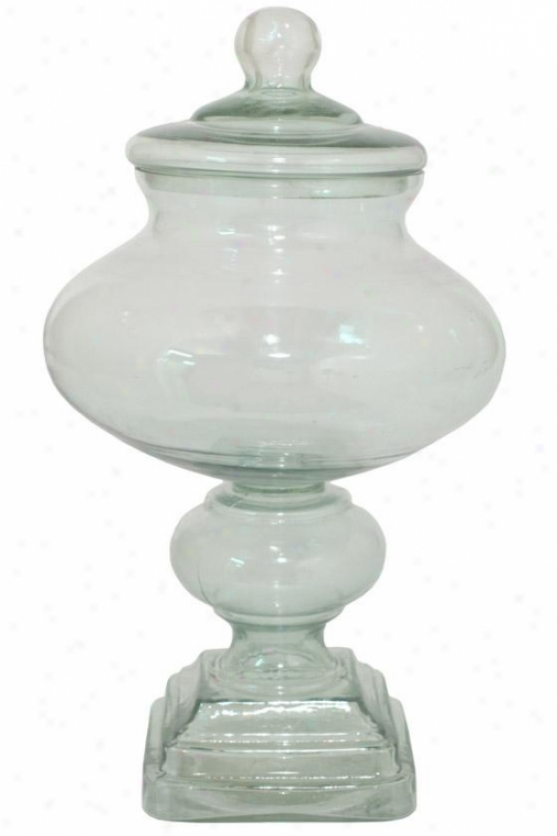"""Memorial of conquest Jar With Lid - 14h X 8""""round, Green"""