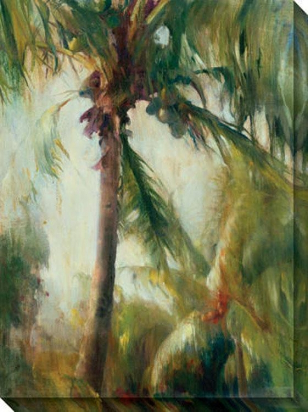"""tropical Palm Canvas Wall Art - 36""""hx48""""w, Green"""