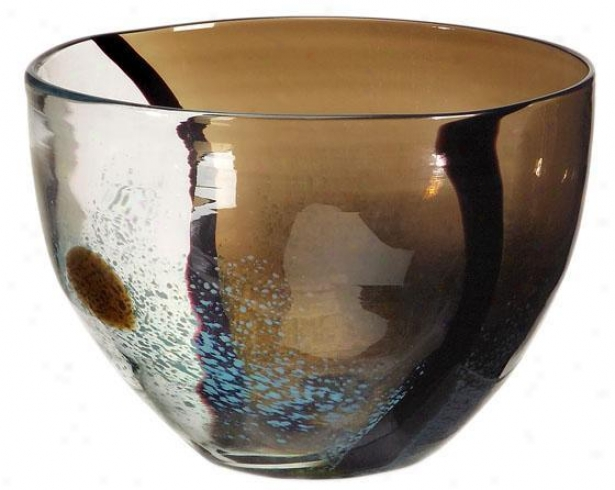 """tsiari Glass Bowl - 6""""hx8.75""""""d, Brown"""