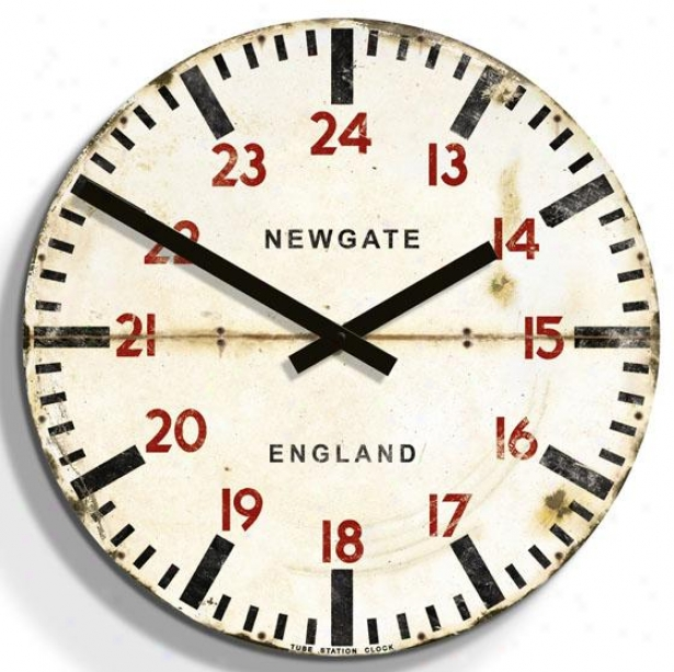 """tube Station Wall Clock - 19.75""""d, White"""