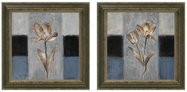 Tulip In Blue Framed Wall Art - Set Of 2 - Set Of Two, Blue