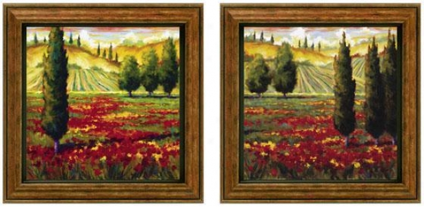 Tuscany In Bloom Framed Wall Art   Set Of 2   Sef Of Pair, Green