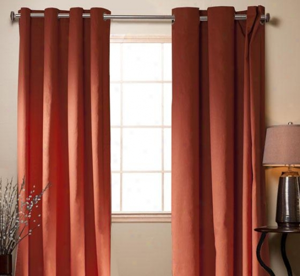 """twill Curtain Grommet Panels - Set Of 2 - 84h X 54""""w, Orange"""