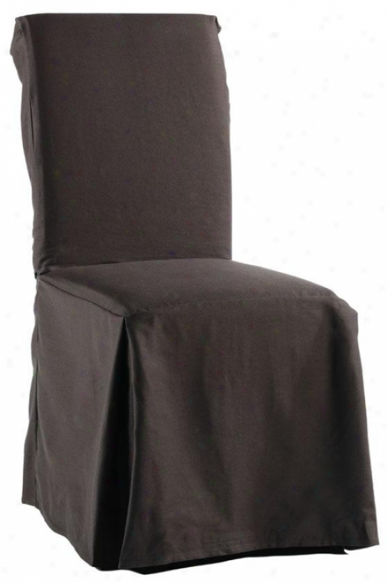 Twill Long Chair Slilcover - Long W/ties, Coffee Brown