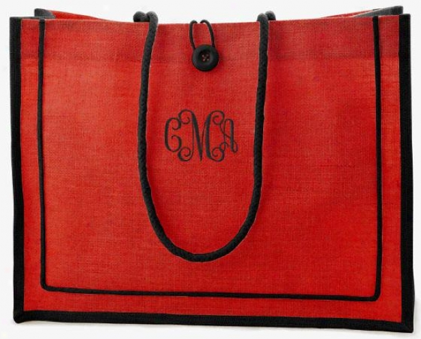 """two-tone Tote - 14hx18wx5.5""""d, Red"""