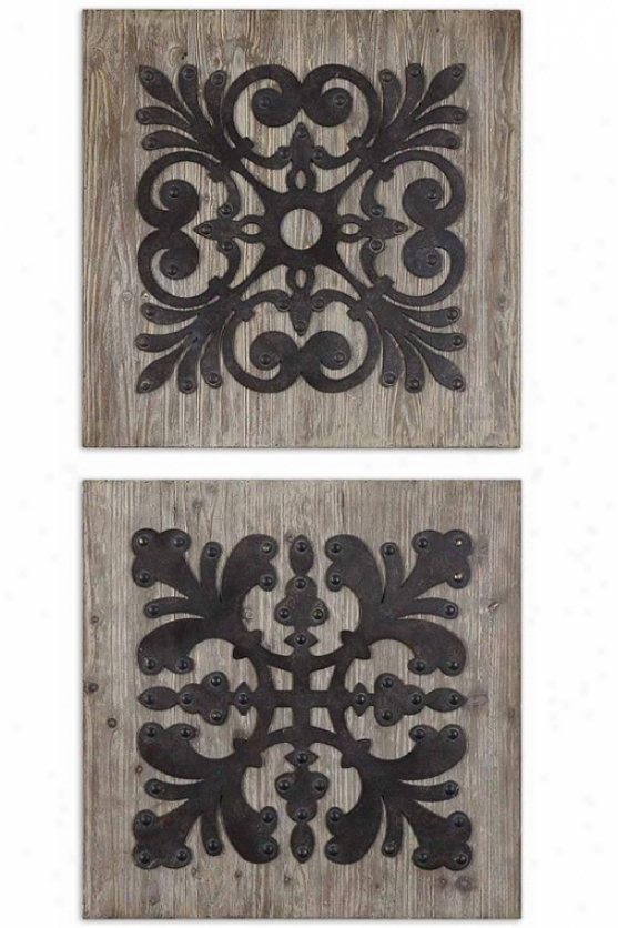 Ulric Squates Wall Art - Set Of 2 - 24hx24w, Slate Gray