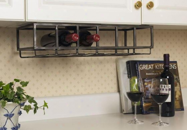 """under Cabinet Wine Rack - 5h X9.5w X23""""d,-Antiqued"""